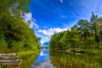 Lake With Beautiful Surroundings Print by Toppart Sweden