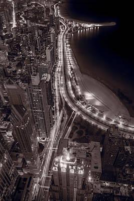 Lakeshore Photograph - Lakeshore Drive Aloft Bw Warm by Steve Gadomski