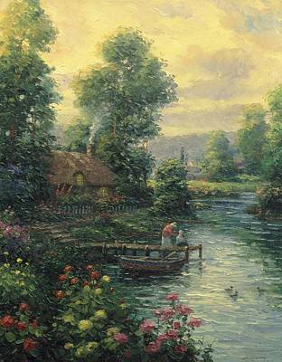 Pallet Knife Painting - Lakeside Partners by Ghambaro