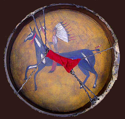 Hand Painted Pendant Photograph - Lakota Teton -back Of Drum by Native Arts Trading