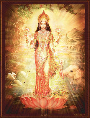 Lakshmi Goddess Of Fortune Vintage Print by Ananda Vdovic