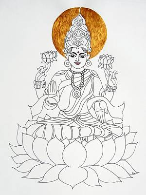 Hindu Goddess Drawing - Lakshmi by Kruti Shah
