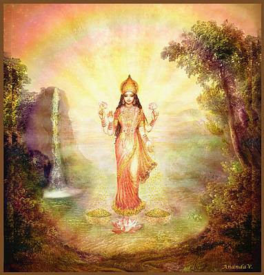 Lakshmi With The Waterfall Print by Ananda Vdovic