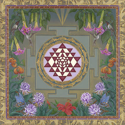 Datura Painting - Lalita's Garden Sri Yantra by Nadean OBrien