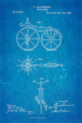 1866 Photograph - Lallement Cycle Patent Art Blueprint 1866 by Ian Monk