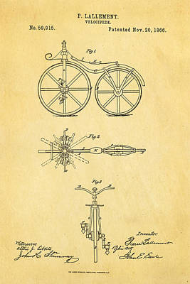 1866 Photograph - Lallement Cycle Patent Art1866 by Ian Monk