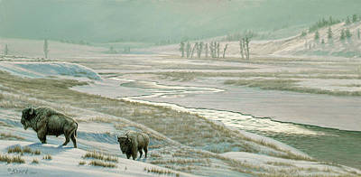 Yellowstone Park Painting - Lamar Valley - Bison by Paul Krapf