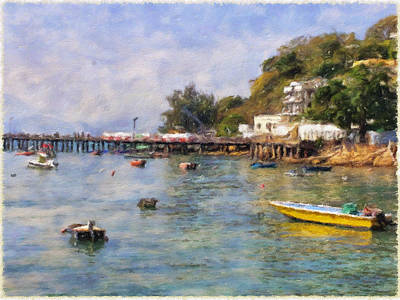 Hong Kong Digital Art - Lamma Island Bay by Yury Malkov