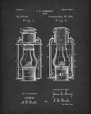 Oil Lamp Drawing - Lamp Pomeroy 1894 Patent Art Black by Prior Art Design