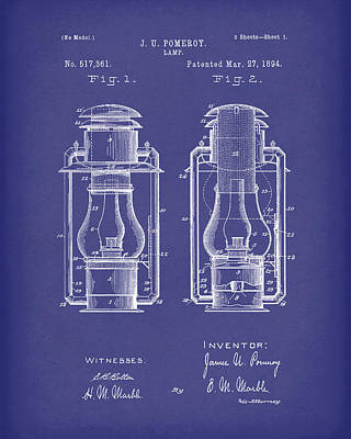 Oil Lamp Drawing - Lamp Pomeroy 1894 Patent Art Blue by Prior Art Design
