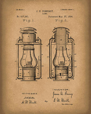 Oil Lamp Drawing - Lamp Pomeroy 1894 Patent Art Brown by Prior Art Design