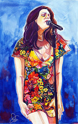 Rolling Stones Drawing - Lana Del Rey by Dave Olsen