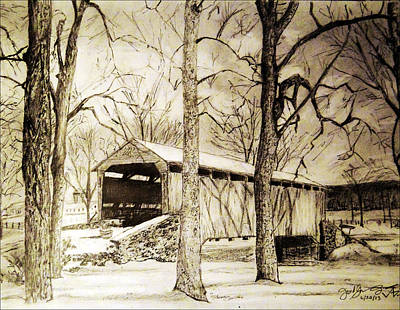 Covered Bridge Drawing - Lancaster Covered Bridge In Winter by Jose A Gonzalez Jr