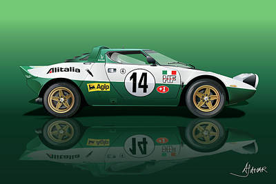 Digital Fine Art Drawing - Lancia Stratos Hf by Alain Jamar