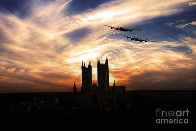 Lincoln Images Digital Art - Lancs Over The Cathedral  by J Biggadike