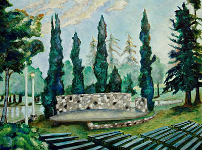 Early California Landscape Painting - Land Park Amphitheater by Patrick Cosgrove