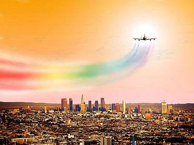 Los Angeles Skyline Painting - Landing At Lax International Airport by Daniel Janda