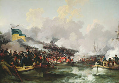 Troupe Photograph - Landing Of British Troops At Aboukir, 8 March 1801, 1802 Oil On Canvas by Philip James Loutherbourg