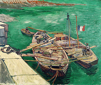 Landing Stage With Boats Print by Vincent van Gogh