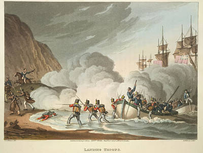 Landing Troops Print by British Library