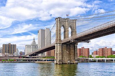 New York City Skyline Photograph - Landmark Brooklyn Bridge by Mark E Tisdale