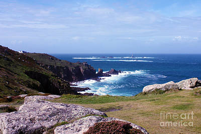 Land's End And Longships Lighthouse Cornwall Print by Terri Waters