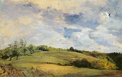 Field. Cloud Painting - Landscape And Clouds  by Louis Antoine Leon Riesener