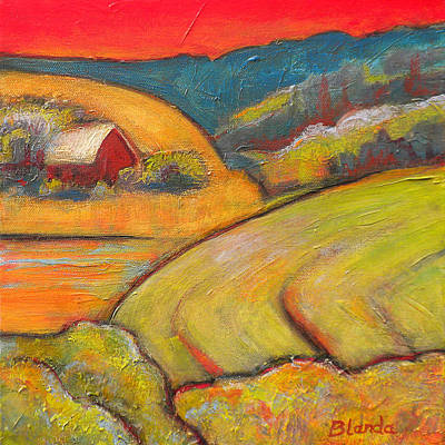 Farmhouse Painting - Landscape Art Orange Sky Farm by Blenda Studio