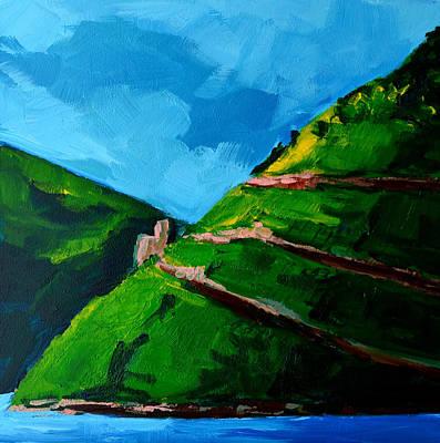 Landscape Castle Along The River Rhine Print by Patricia Awapara