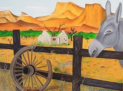 Old Wooden Wagon Painting - Landscape by Driekie Potgieter