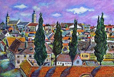 Eastern Europe Painting - Landscape From Sibiu Transylvania by Ion vincent DAnu