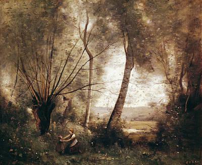 Femme Photograph - Landscape Oil On Canvas by Jean Baptiste Camille Corot