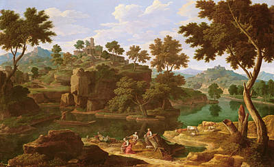 Shepherdess Photograph - Landscape With A River Oil On Canvas by Etienne Allegrain