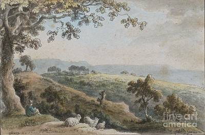 Stencil Art Painting - Landscape With A Shepherd And His Sheep by Celestial Images