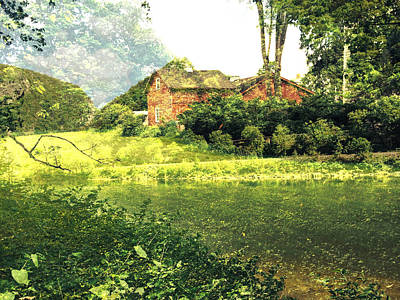 Landscape With Barn And Texture Print by Maggie Vlazny