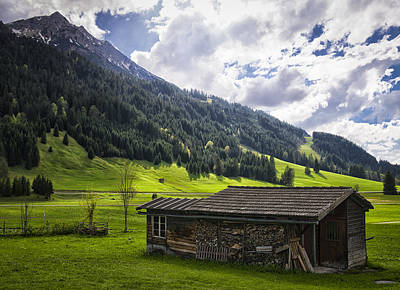 Spring Photograph - Landscape With Barn In The Alps With Beautiful Light by Matthias Hauser