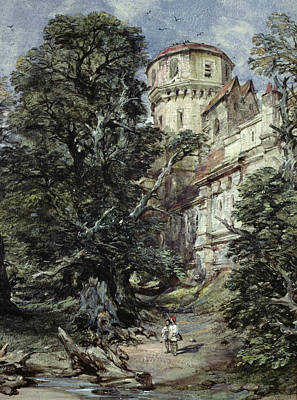 Flock Of Bird Painting - Landscape With Castle And Trees by George Cattermole