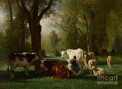 Dairy Farming Painting - Landscape With Cattle And Sheep by Constant Emile Troyon