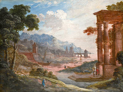 Pierre Patel Painting - Landscape With Classical Ruins With Boats Drawn Up To The Shore by Pierre-Antoine Patel
