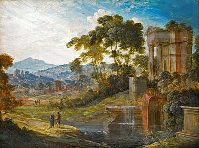 Pierre Patel Painting - Landscape With Classical Ruins With Two Figures Conversing by Pierre-Antoine Patel
