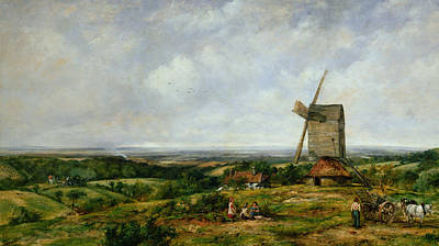 Horse And Cart Painting - Landscape With Figures By A Windmill by Frederick Waters Watts