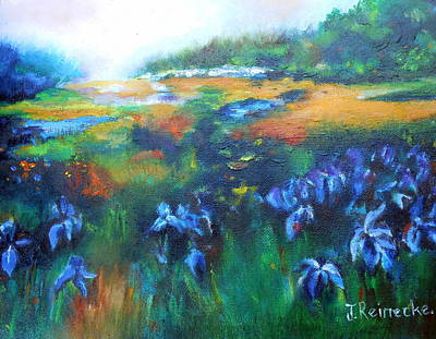 Jana Painting - Landscape With Lillies by Jana Reinecke