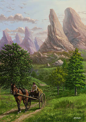 Horse And Cart Painting - Landscape With Man Driving Horse And Cart by Martin Davey