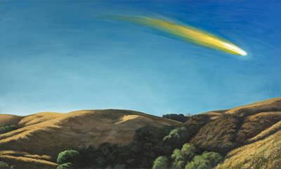 Meteor Painting - Landscape With Meteor #1 by David Palmer