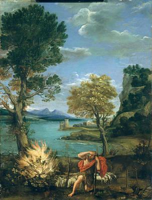 Domenichino Painting - Landscape With Moses And The Burning Bush by Domenichino