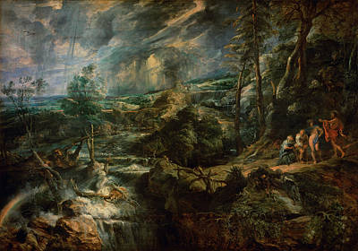Landscape With Philemon And Baucis C.1625 Oil On Panel Print by Peter Paul Rubens