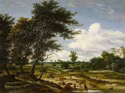 Dutch Shepherd Painting - Landscape With Shepherd And Cattle by Salomon van Ruysdael