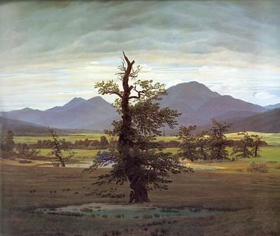 Caspar Painting - Landscape With Solitary Tree by Caspar David Friedrich