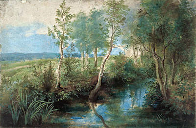 Landscape With Stream Overhung With Trees Print by Peter Paul Rubens