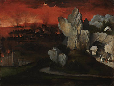 Lot Painting - Landscape With The Destruction Of Sodom And Gomorrah by Joachim Patinir